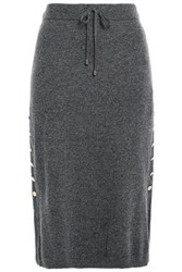 Dkny Woman Button Detailed Knitted Skirt Gray