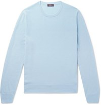 Berluti Leather Trimmed Cashmere Sweater Blue