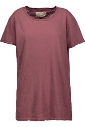 Current Elliott The Petite Linen And Cotton Blend T Shirt Antique Rose