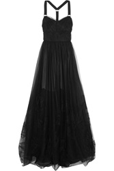 Jason Wu Ruched Double Layered Tulle Gown Black