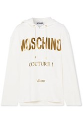Moschino Printed Cotton Blend Jersey Hoodie White