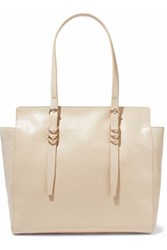 Halston Ring Embellished Textured Leather Tote Neutral