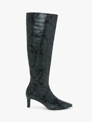 And Or Viola Leather Snake Print Stiletto Knee High Boots Blue