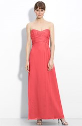 Women's Amsale Strapless Crinkle Chiffon Gown Coral