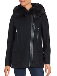 Calvin Klein Zip Front Fur Trim Jacket Black