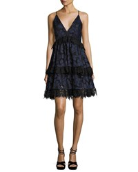 Kendall Kylie Lace Sleeveless Corset Fit And Flare Dress Navy