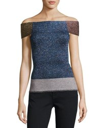 Christopher Kane Metallic Knit Off Shoulder Top Multi