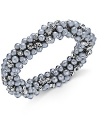 Charter Club Silver Tone Crystal And Gray Imitation Pearl Cluster Bracelet Only At Macy's