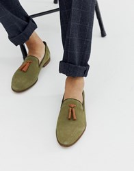 Kg By Kurt Geiger Loafers In Green Suede With Contrast Tassel Detail