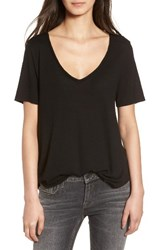 Women's Bp. Raw Edge V Neck Tee Black