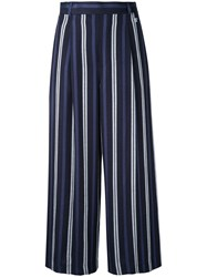 Loveless Striped Cropped Trousers Blue