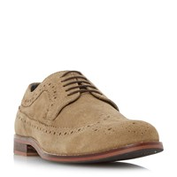 Howick Bander Contrast Stitch Brogue Shoes Taupe