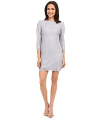 Adrianna Papell Lace Sequin Shift Dress Light Dove Women's Dress Gray