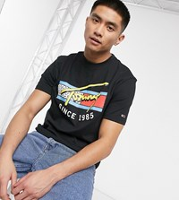 Tommy Jeans Exclusive To Asos T Shirt With Neon Retro Signature Chest Print In Black