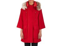 Nina Ricci Women's Fur Trimmed Wool Hooded Coat Red