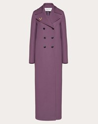 Valentino Vgold Double Wool Coat Real Purple Virgin Wool 100