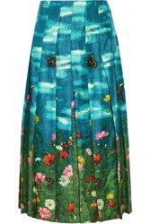 Gucci Pleated Printed Silk Satin Skirt Jade