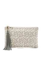 Lauren Merkin Handbags Leopard Print Small Tassel Clutch Nude Grey