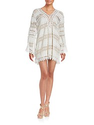 Saks Fifth Avenue Long Sleeve Crochet Mini Dress White