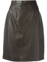 Chanel Vintage Leather Skirt Brown