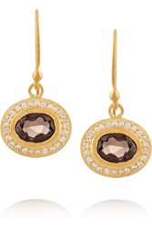 Kevia Gold Plated Quartz And Crystal Earrings