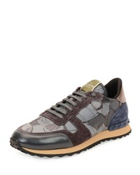 Valentino Camo Butterfly Print Leather Sneaker Gray
