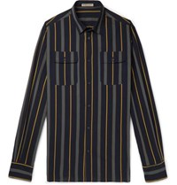 Bottega Veneta Slim Fit Striped Cotton Poplin Shirt Navy