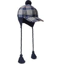 Gucci Tasselled Checked Cotton Cap Navy