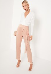 Missguided Nude Satin Tie Waist Wrap Front Cigarette Trousers Pink