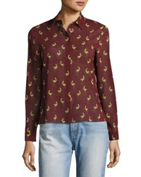 Alice Olivia Willa Bird Print Silk Shirt Multicolor