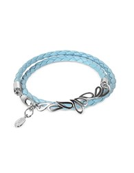 Sho London Mari Friendship Sterling Silver And Leather Double Bracelet Light Blue