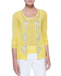 Michael Simon Button Front Cardigan With Bead Trim Yellow