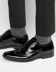 Asos Oxford Brogue Shoes In Black Patent Black