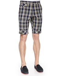 Band Of Outsiders Plaid Shorts With Bias Patches Multi Colors