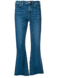 Mih Jeans Distressed Detail Flared Blue