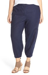 Plus Size Women's Eileen Fisher Organic Linen Cargo Ankle Pants Midnight