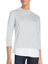 French Connection Fresh Jersey High Neck Blouse Grey White