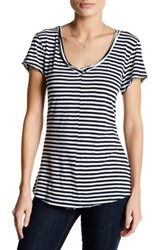 14Th And Union Striped V Neck Tee Petite Blue
