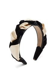 Eliurpi Braided Velvet And Grosgrain Headband Cream Multi