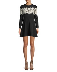 Valentino Crewneck Long Sleeve Fit And Flare Sweaterdress W Lace Inset Black White