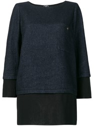 Chanel Vintage Layered Straight Blouse Blue