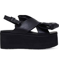 Ugg Moon Bow Leather Sandals Black