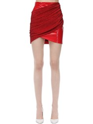 Sara Battaglia Draped Stretch Lurex Vinyl Mini Skirt Red
