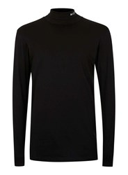 Nicce Black Roll Neck Long Sleeve Stretch T Shirt