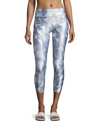 Terez Geo Tall Band Performance Leggings Light Gray