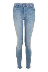 Topshop Moto Light Blue Leigh Raw Hem Jeans Blue