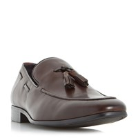 Dune Rolands Chisel Toe Tassel Loafers Brown