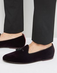 Ted Baker Thrysa Velvet Tassel Loafers Red