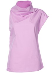 Marni Cowl Neck Asymmetric Blouse Women Cotton 36 Pink Purple
