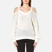Gestuz Women's Alvi Cable Cold Shoulder Pullover Cloud Dancer Cream